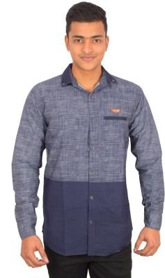 Binani Men,s Solid Casual Blue Shirt