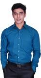Cotton King Men's Solid Formal Blue Shir...