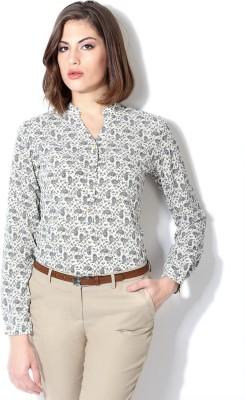 Van Heusen Women's Printed Casual White Shirt