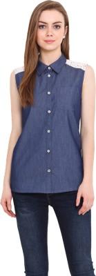 Blink Women's Solid Casual Denim Blue Shirt