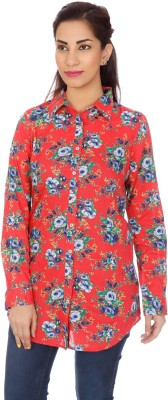 Clodentity Women,s Floral Print Formal Red Shirt