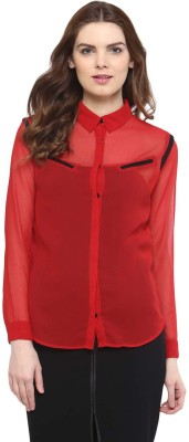 The Office Walk Women's Solid Formal Red Shirt
