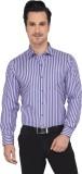 Devaa Men's Striped Casual Purple Shirt