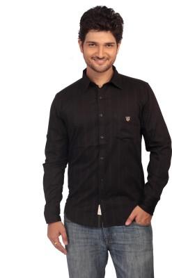 Ecohawk Men's Striped Casual Black Shirt