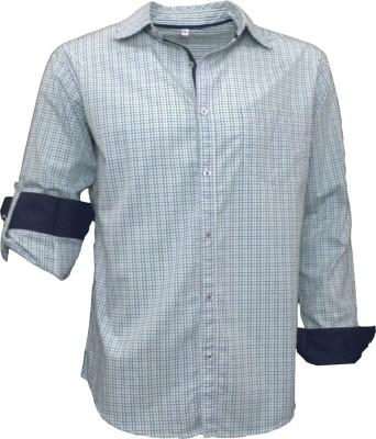 Darium Men's Checkered Casual White, Dark Blue, Light Green Shirt