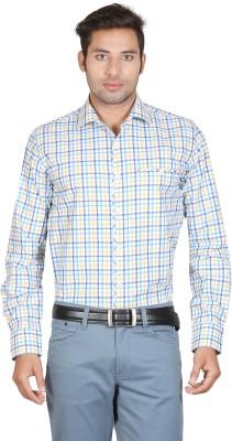 Don Vino Men's Checkered Casual Yellow, Blue, White Shirt
