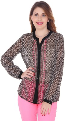 Bedazzle Women's Printed Party Black Shirt