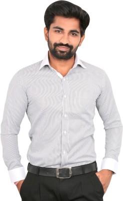 Caris Men's Striped Formal Linen Grey Shirt