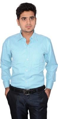 Indocity Men's Checkered Formal Green, Blue Shirt