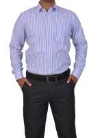 Trivistup Formal Shirts (Men's) - TRIVISTUP Men's Striped Formal Blue Shirt