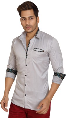 Trustedsnap Men's Solid Casual Silver Shirt