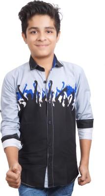 Ice Blue Boy's Graphic Print Casual Black Shirt