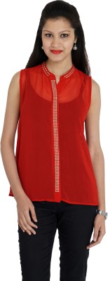 Franclo Women's Solid Formal Red Shirt