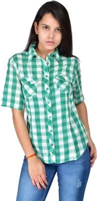 Palette Women's Checkered Casual Green Shirt