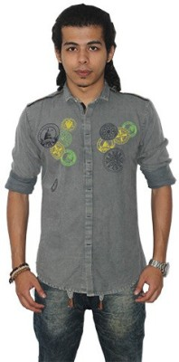 Fisheye Men's Printed Casual Grey Shirt