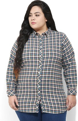 Amydus Women's Checkered Casual Blue Shirt