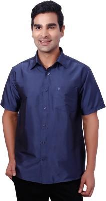 Nanya Men's Solid Casual Dark Blue Shirt