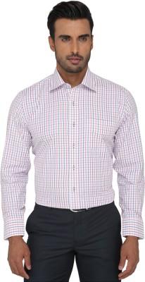 Greenfibre Men's Checkered Formal White Shirt