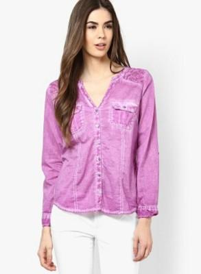 M&F Women's Solid Formal Purple Shirt