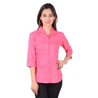 Jazzy Ben Women's Solid Formal Pink Shirt