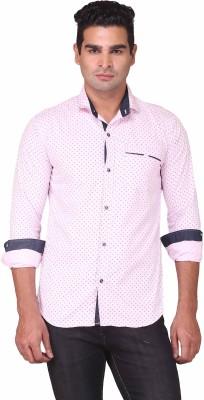 Human Steps Men's Polka Print Casual Pink Shirt
