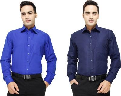 Yuva Men's Solid Formal Blue, Dark Blue Shirt