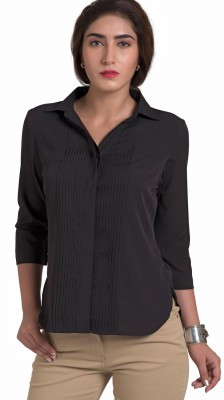 The Office Walk Women's Solid Formal Black Shirt