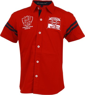 Lumber Boy Boy,s Printed, Embroidered Casual Red Shirt