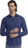 Scotchtree Men's Printed Casual Blue Shi...