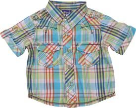 Lilliput Boys Checkered Casual Green Shirt