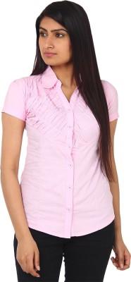 Gudluk Women,s Solid Casual Pink Shirt