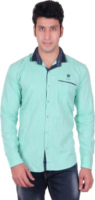 PICKLE Men's Solid Formal Green Shirt