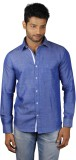 V Seven Men's Solid Casual Linen Blue Sh...