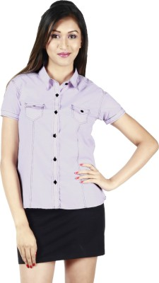 Faireno Women's Solid Casual Pink Shirt