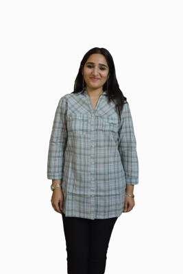 Vedic Deals Women's Checkered Casual Grey Shirt