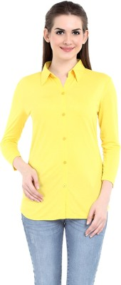 Her Grace Women's Solid Casual Yellow Shirt