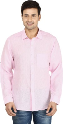 Le Luxe Men's Self Design Casual, Formal Pink Shirt