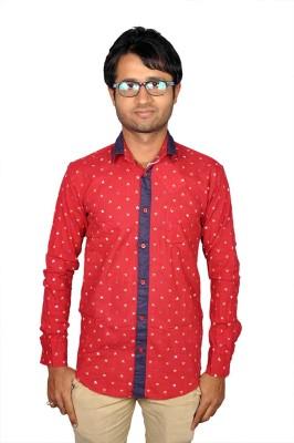 Royal Fashion Men's Printed Festive Red Shirt