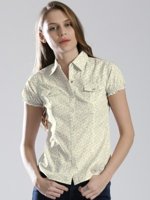 Dressberry Women's Printed Casual White Shirt