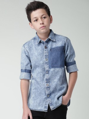 WROGN for Tweens Boy's Solid Casual Blue Shirt