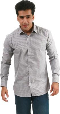 Frissk Men's Checkered Casual Grey Shirt
