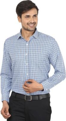John Players Men's Checkered Formal White, Blue Shirt