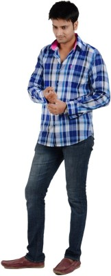 S9 Men's Checkered Casual, Festive, Party Blue, White, Pink Shirt