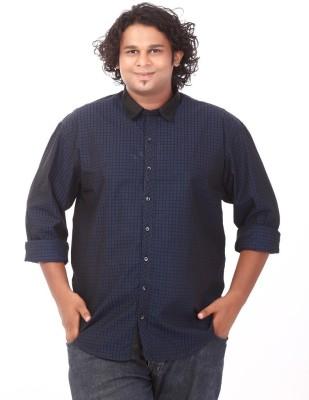 Ciroco Men's Checkered Casual Dark Blue Shirt