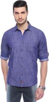 FERROUS Men's Solid Casual Purple Shirt