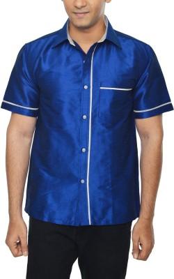 KENRICH Men's Solid Casual Blue Shirt