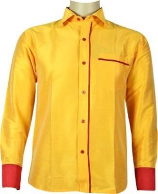 KENRICH Men's Solid Casual Yellow Shirt
