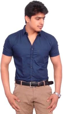 Rose Wear Men's Solid Formal Blue Shirt