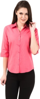 Shoprillo Women's Solid Formal Pink Shirt