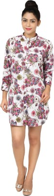 Chic Fashion Women's Floral Print Formal Pink, White Shirt